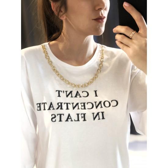 Yazılı Zincirli Oversized Tişört
