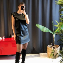 Vatkalı Deri Elbise