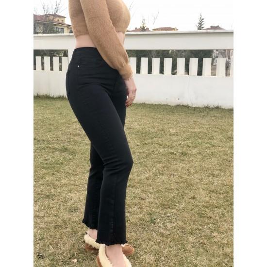 Siyah Yüksek Belli Jean